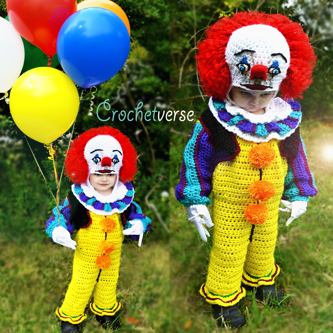 Pennywise crochet costume crochetverse there is no pattern for pennywise directly he is made using the plain blank canvas onesie pattern to which i altered and added to make him bankloansurffo Image collections