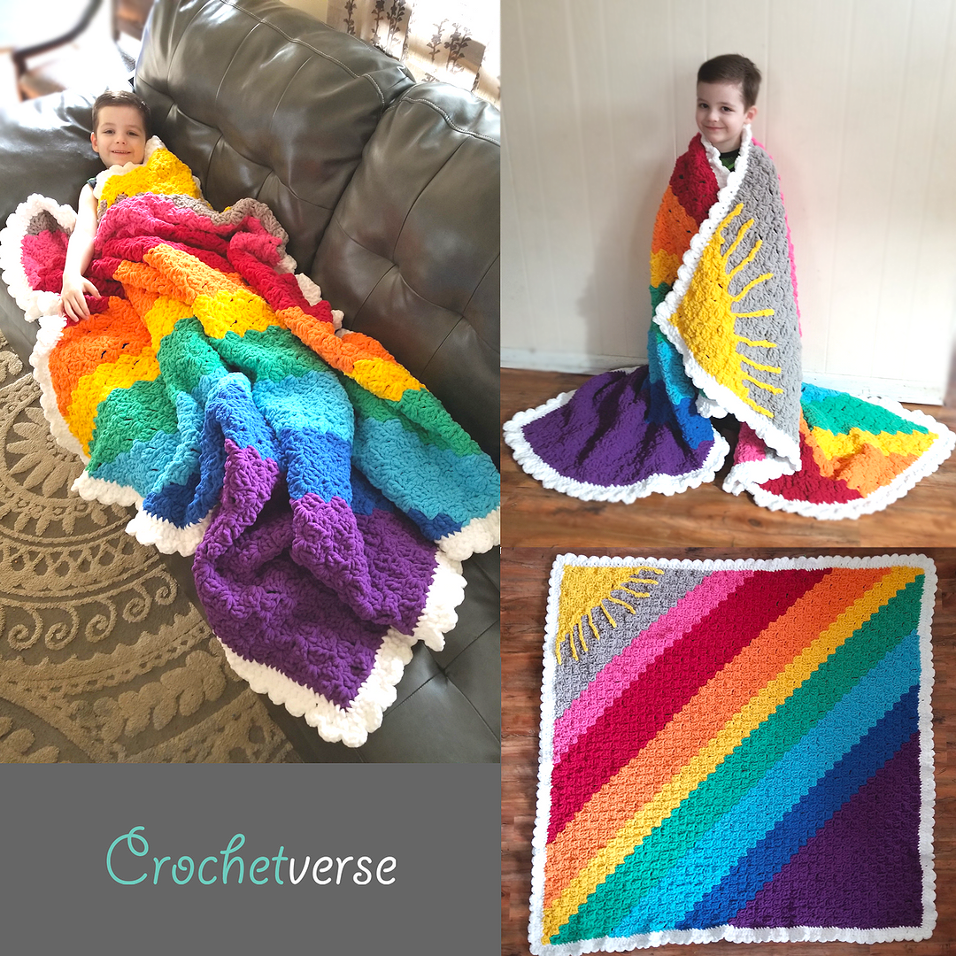 Sunshine On A Cloudy Day C2c Calming Blanket Free Crochet Afghan